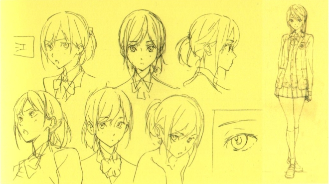 Nishiya's rough drafts of Gou. At this time her hair was still rather short.
